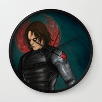 the winter soldier Wall Clocks featuring Winter Soldier by toibi