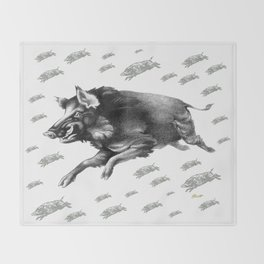 Running Boar Throw Blanket