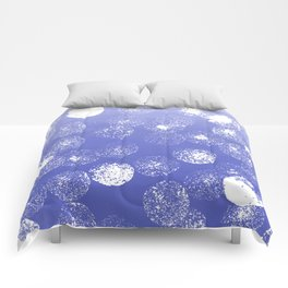 Abstract hand painted violet white watercolor paint polka dots Comforters
