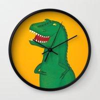 t rex Wall Clocks featuring T-Rex by Yana Elkassova