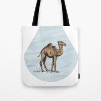 salt water Tote Bags featuring Camel - salt water by Agustin Flowalistik
