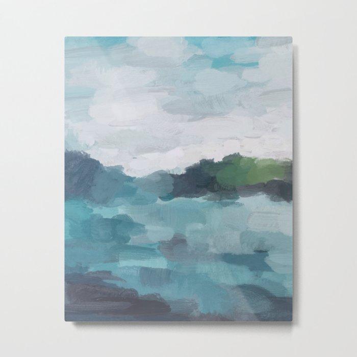 Aqua Blue Green Abstract Art Painting Metal Print