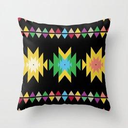Folk black Throw Pillow
