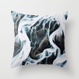 Aerial of an abstract River in Iceland Throw Pillow