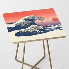 The Great Wave of Pug Side Table