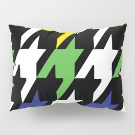 Jumbo Scale Masculine Colored Houndstooth Pattern Pillow Sham