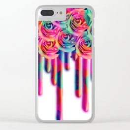 Floral Rose drip Clear iPhone Case