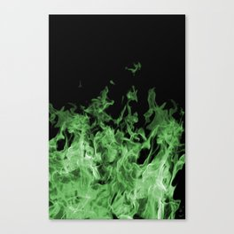 Green Flame on Black Canvas Print