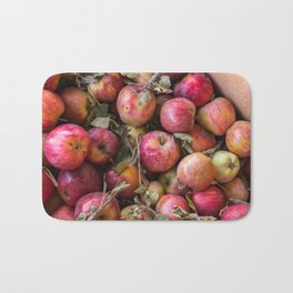 Pile of freshly picked organic farm apples with imperfections Bath Mat