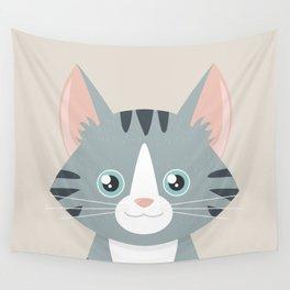 Grey Tabby Cat Wall Tapestry