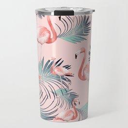 Blush Flamingo Palm Vibes #2 #pastel #tropical #decor #art #society6 Travel Mug