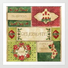 Celebrate Christmas Traditions Vintage Style Collage, Joy, love, family & friends Art Print