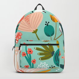 Mid-Century Modern Floral Print With Trendy Leaves Backpack