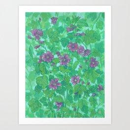 Mallow Bloom, Malva Silvestris, Summer Flowers Wildflowers Floral Painting  Art Print