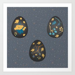 Collection Of Colorful Happy Easter Eggs Art Print