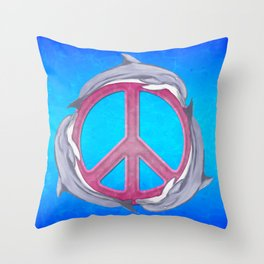 Dolphin Peace Pink Throw Pillow