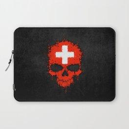 Flag of Switzerland on a Chaotic Splatter Skull Laptop Sleeve