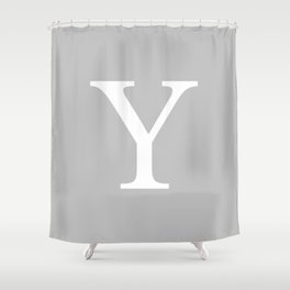 Silver Gray Basic Monogram Y Shower Curtain