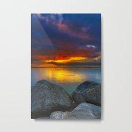 Stormy Tropical Sunset Sea Metal Print