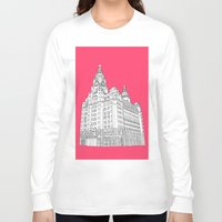 liverpool Long Sleeve T-shirts featuring Liverpool Liver Building  by sarah illustration