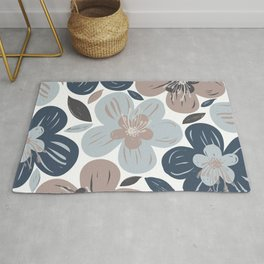 Large Tropical Flower Pattern Muted Blue Desert Pink Gray Rug
