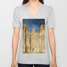 wells cathedral, church, abbey, gothic Unisex V-Neck