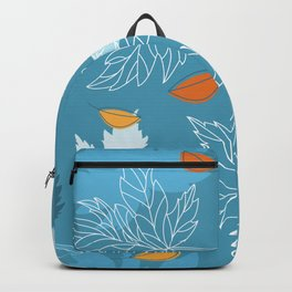 Lovely blue sky illustration with autumn leaves pattern  Backpack