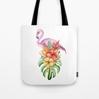 flamingo Tote Bags featuring Flamingo by Julia Badeeva
