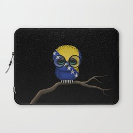 Baby Owl with Glasses and Bosnian Flag Laptop Sleeve