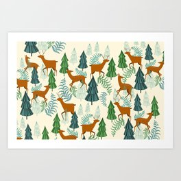 Deers in the forest Art Print