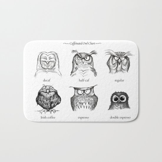 Caffeinated Owls Bath Mat