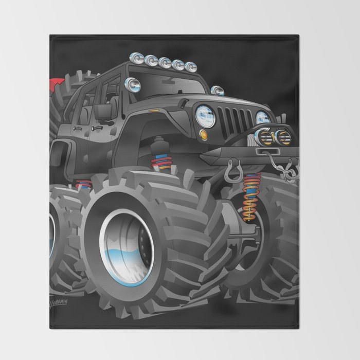Off Road 4x4 Cartoon Throw Blanket