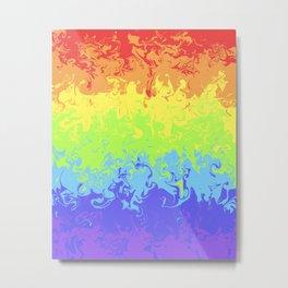 Marble Pride Rainbow Metal Print