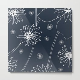 Dandelions Drawing on Slate Grey Metal Print