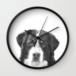 Black and White Bernese Mountain Dog Wall Clock