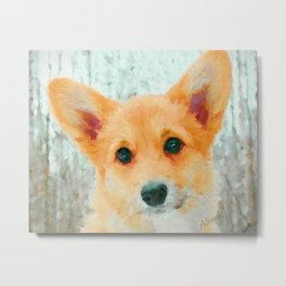 Corgi Pup Art Print Metal Print