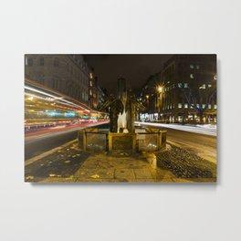 Thomas Davis Statue Dame Street Dublin at night with traffic streaks Metal Print