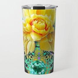 Yellow Rose Aqua Color Floral Gems Design Travel Mug