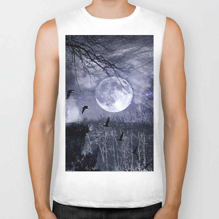 full moon in the woods Biker Tank