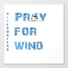 Kiteboarding Humor Kneeling Skeleton Praying For Wind Canvas Print