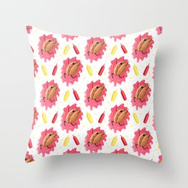 Number One Wiener Pattern Throw Pillow