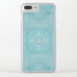 Turquoise Square Pattern Stone Clear iPhone Case