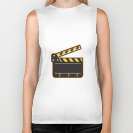 Movie Camera Slate Clapper Board Open Retro Biker Tank