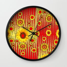 RED ART DECO GOLDEN SUNFLOWERS ABSTRACT Wall Clock