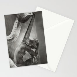 The Golden Harp, Blond female form black and white nude photograph / photography Stationery Cards