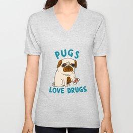 Pugs Love Drugs Unisex V-Neck