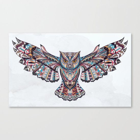 Colorful Ethnic Owl Canvas Print