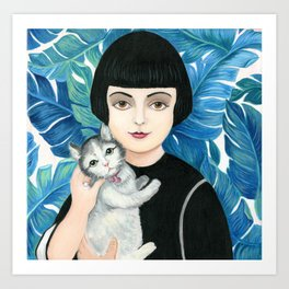 Vintage woman with cat. Art Print