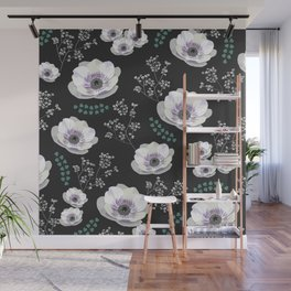 Anemones collection black pattern Wall Mural