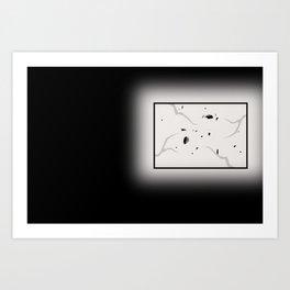 Broken window in darkness Art Print
